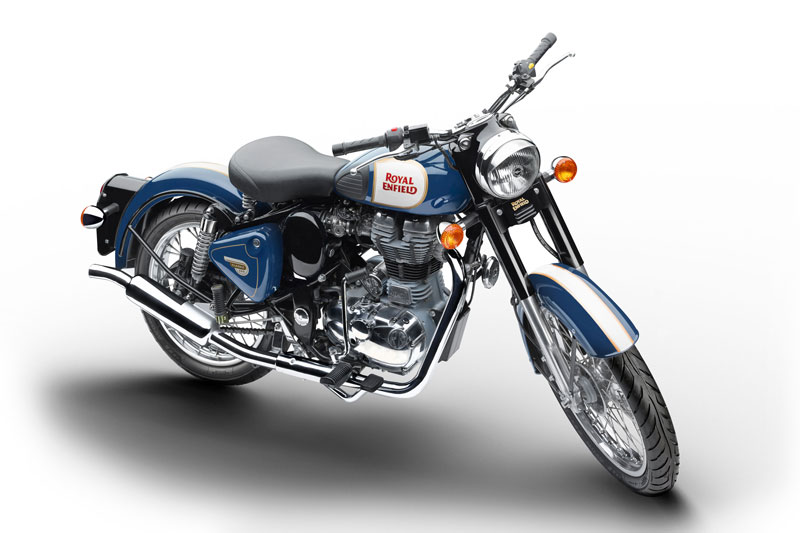 Royal Enfield World Motorrad Retro Classic 500 Chrome Blau