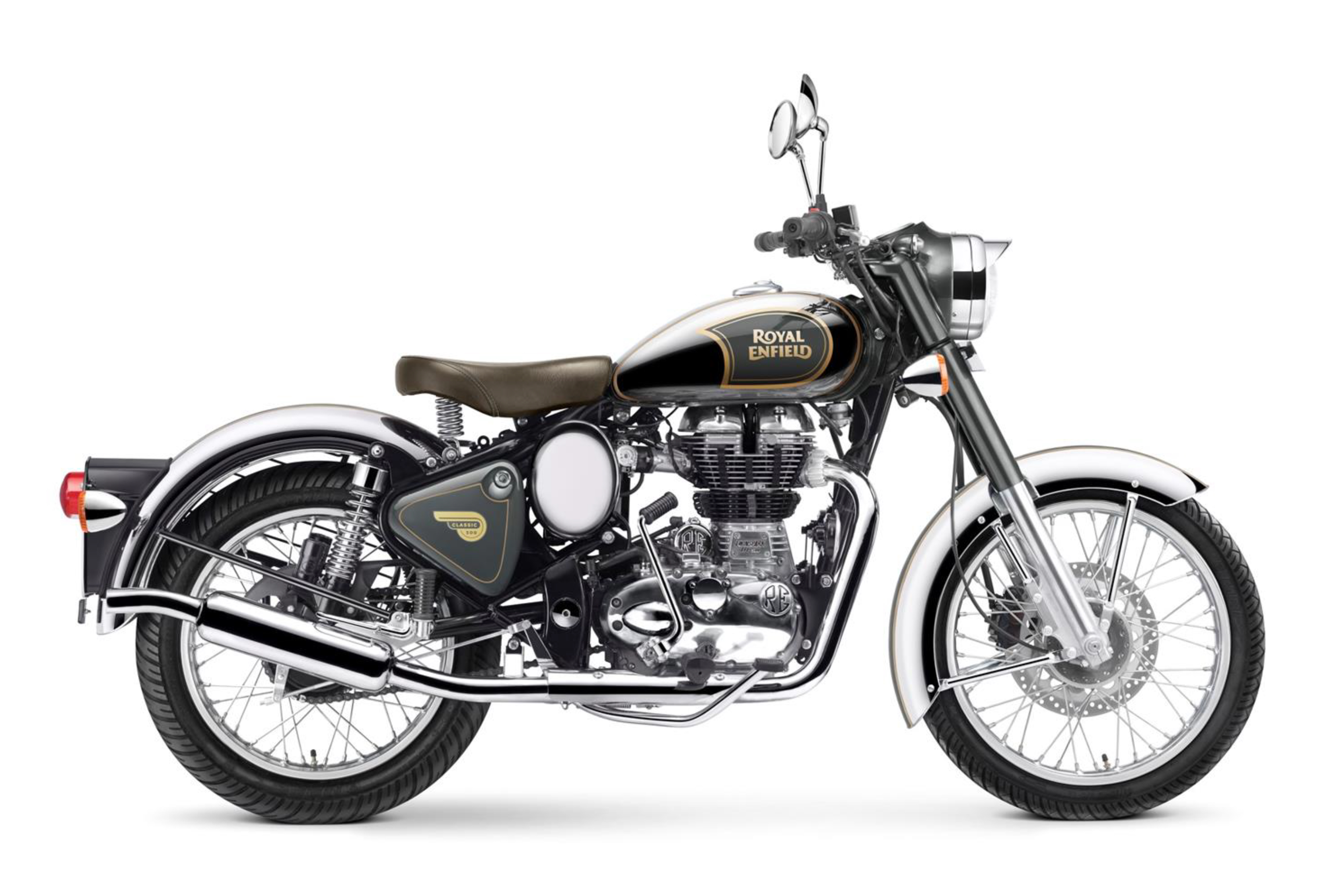 royal enfield world classic efi 500 chrome grau. Black Bedroom Furniture Sets. Home Design Ideas